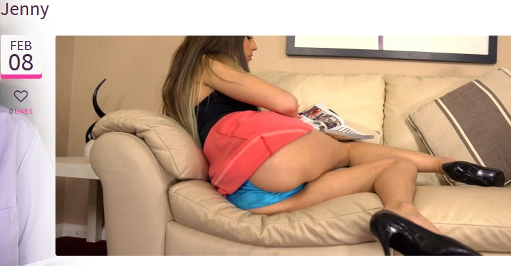 Jenny shows an upskirt oops of her blue panties