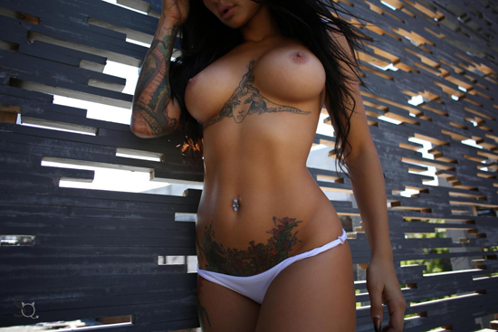 Topless girl in white panties