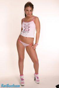 Kari Sweets looking hot in her short t-shirt and pink panties